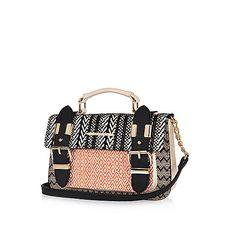 Light brown weave mini satchel