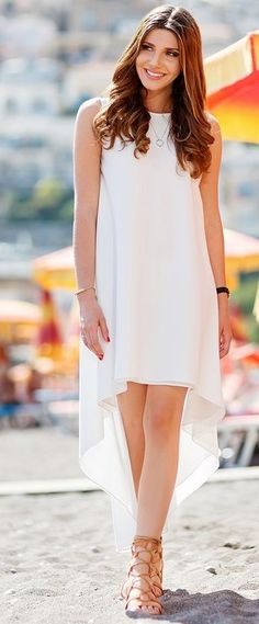 High & Low White Summer Dress                                                                             Source