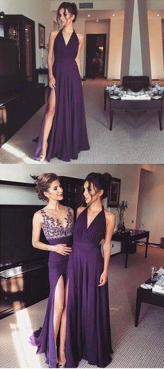 2018 long prom dress graduation dress, purple long prom dress, purple prom dress with slit, elegant purple long evening dress with slit