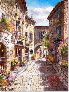 Eze Villa / Provinces of France II by Sam Park. SOHO Editions — www. Provinces Of France, Beautiful Places, Beautiful Pictures, Park Art, Environmental Art, Beautiful Paintings, Oeuvre D'art, Painting Inspiration, Landscape Paintings