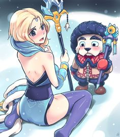 Dota 2 - Tusk and Crystal Maiden (Winter by Sieyarelow on DeviantArt) Dota2 Funny, Dota 2 Cosplay, Good Fellows, Dota 2 Game, Best Fan, Character Concept, Funny Cute, Game Art, Chibi