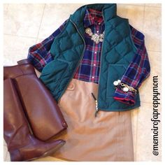 J Crew vest and Tartan (@memoirofapreppymom IG) that green