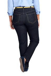 59835675f0c Women s Plus Size Mid Rise Straight Fit Shaping Blue Jeans from Lands  End