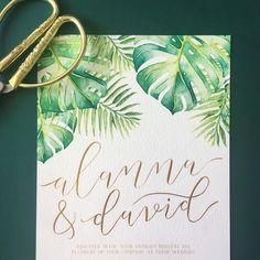 Tropical foliage watercolour wedding invitations