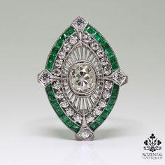 Antique Art Deco Platinum 1.71ct. Diamond & 1ct. Emerald Ring