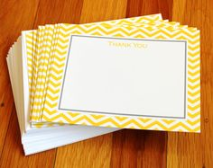 Chevron print in lemon (yellow) and slate (gray)! Stationary-great for thank you notes. From Paperly. Order at http://www.mypaperly.com/shop/productdetail.aspx?id=398&prod=13001-CHEVRON