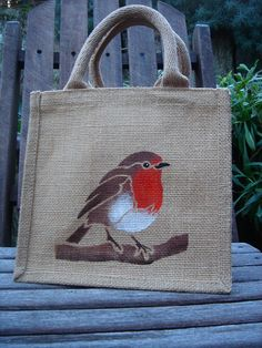 Robin jute bag hand painted