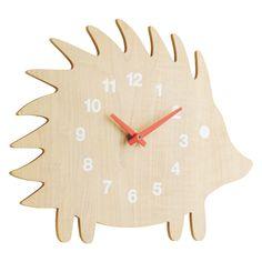 SPIKE Natural wooden hedgehog wall clock | Buy now at Habitat UK