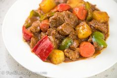 I will show you how to cook beef kaldereta. It is a type of Filipino Beef Stew. This dish is cooked in a tomato-based ...