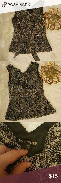 Express Snakeskin Print Vneck Sleeveless Blouse size small zippers up the side  faux tie around  100% Polyester Express Tops Blouses