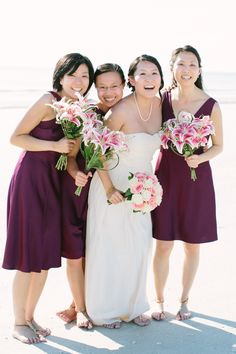bridesmaids in maroon dress