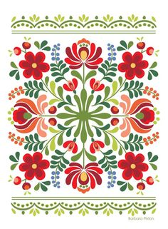 Ungarische Volkskunst-Rot-Blumen - Indispensable address of art Hungarian folk art red flowers Embroidery Designs, Simple Embroidery, Folk Embroidery, Embroidery Stitches, Polish Embroidery, Embroidery Tattoo, Machine Embroidery, Folk Art Flowers, Red Flowers