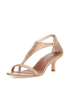 Monti Metallic Leather T-Strap Pump, Light Bronze by Donald J Pliner at Neiman Marcus.