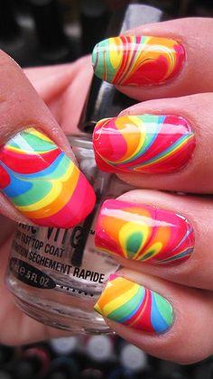 Grooooovy baby! rainbow swirl nail manicure.  Stay beautiful and win groovy prizes at ShopCube.com #StayBeautifulGetLucky #ShopCube