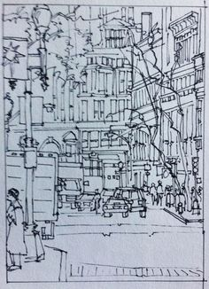 "Jody Regan Paints: ""City Street - Boston""  pen & ink  9 x 6"