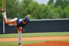 Throwing a pitch at the Perfect Game Showcase in East Cobb, GA.; circa 2012.