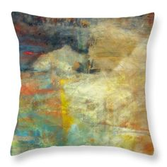 Turner's Sky Throw Pillow by Elizabeth Cope May. Abstract of blue, teal, tan, and yellow, with accents of red and orange. Multi sizes available at  ElizabethCopeMay.com.