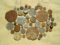 Rusty Round Metal Pieces - Found Objects for Assemblage, Jewelry or Altered Art - Industrial Salvage on Etsy, $6.00