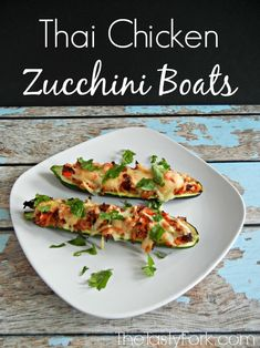 Easy Low Carb Recipe - Thai Chicken Zucchini Boats. www.thetastyfork.com