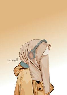 Hijab Drawing, Islamic Cartoon, Hijab Cartoon, Islamic Girl, Cool Art Drawings, Islamic Pictures, Cartoon Sketches, Muslim Hijab, Anime Art Girl