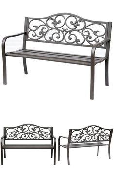 Vintage Floral Garden Bench 2 Seater Metal Patio Porch Deck Yard Chair Furniture #VintageFloralGardenBench
