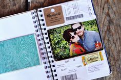 """Travel Journal. """"Purchase (or make) a journal you love and bring a small pair of scissors and a roll of tape with you as you travel. Each day add bits and pieces from your travels. Save receipts, menus, airplane tickets, photo booth pics and more."""""""