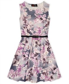 1c29a05c257 Buy Floral Print Belted Girls Skater Dress at fabulous bargains galore.  Gorgeous skater dress for girls with all over floral print