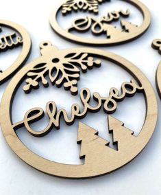 Personalized Christmas Ornament - Laser Cut Wood with Name - Inch Thick - High Quality Finished Maple Plywood by CompanyTwentySix Cheap Ornaments, Homemade Ornaments, Wood Ornaments, Personalized Christmas Ornaments, Diy Christmas Ornaments, Laser Art, 3d Laser, Laser Cut Wood, Laser Cutting