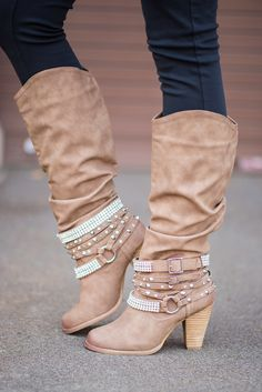 We love fall, and all the new boots each year. We have one of each color. Shhh...don't tell my husband. Shop these Nude Diamonds & Studs Boots at NanaMacs Boutique.