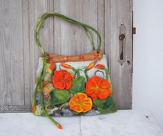 Unique felted bag with 3D nasturtium flowers with by filcAlki
