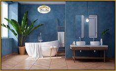 Excellent Bathroom Remodeling Ideas for Home Bathrooms Renovations #BathroomRenovations #BathroomRenovationsAuckland Modern Bathrooms Interior, Bathroom Interior Design, Bathroom Designs, Blue Bathrooms Inspiration, Feng Shui, Dark Blue Walls, Bad Styling, White Interior Design, Cleaning Walls