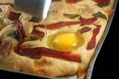 Focaccia with Bacon, Cheddar and Eggs in Wells