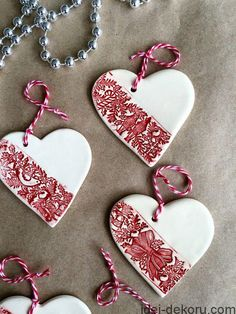 Ceramic Christmas decorations - Christmas decorations - Set of three - white ceramic ornament - A set of three white ceramic heart Christmas ornaments that can be used as a Christmas tree decorat - Ceramic Christmas Decorations, Diy Christmas Ornaments, Handmade Christmas, Christmas Crafts, Christmas Activities, Christmas Clay, Christmas Makes, White Christmas, Clay Ornaments