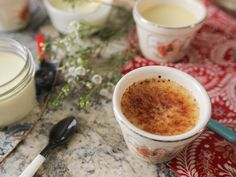 Coconut Creme Brulee recipe from Damaris Phillips via Food Network Just Desserts, Delicious Desserts, Dessert Recipes, Yummy Food, Yummy Recipes, Brunch Recipes, Fun Food, Sweet Recipes, Recipies