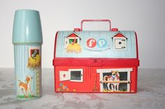 Lunch Box! Fisher Price Little_people vintage...  4 inches wide..... fits 1 hard boiled egg, 1/8 of a pita, 6-8 sticks of celery and/ or carrots in mini thermos