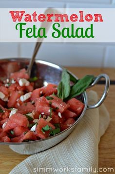 Kids loved this at a cookout. Watermelon Feta #salad #recipe