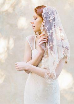 This listing is for the Style 305 Blush Floral Bridal Veil. Details of the design:  - Shoulder Length back - Mantilla inspired design - Colour Blush