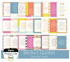 Becky's Quotes Themed Cards  - I just love Becky's quotes and can't wait to use them.