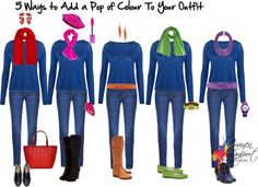 Rough Luxe Friday Fun Stuff 5 ways to add a pop of colour to your outfit from Inside Out Style Fashion Over 50, Look Fashion, Fashion Outfits, Womens Fashion, Wardrobe Basics, Capsule Wardrobe, Inside Out Style, Fashion Capsule, Neutral Outfit
