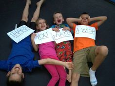 """From a wish mom, who shared this photo with us - """"Thank you Make-A-Wish for our awesome trampoline!!!! Everyone in the family uses it everyday of the year rain or shine!!! It's impossible not to laugh jumping with 4 crazy kids!"""""""