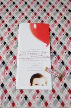 Invitation-love big balloon, clean crisp invitation, pic of child. Overall LOVE.