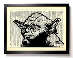 Star Wars Master Yoda Repurposed Book Upcycled Dictionary Art Vintage Book Print Recycled Vintage Dictionary Page Buy 2 Get 1 FREE on Etsy, $6.99