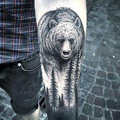 Bear and Forest Tattoo Idea