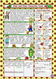 Reading comprehension for elementary level about kids and their favourite food. Comprehension exercises and key included.  - ESL worksheets