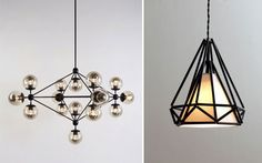 Modo light by Jason Miller and Himmeli pendant light by Paul Loebach Dining Lighting, Handmade Ornaments, Stained Glass, Chandelier, Ceiling Lights, Jason Miller, Lamps, Pendant, Ceilings
