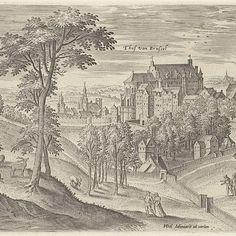 Gezicht op het slot Hof van Brussel, Hans Collaert (I), after Hans Bol, Jacob Grimmer, 1530 - 1580 - Rijksmuseum