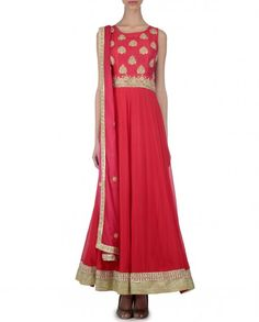 Scarlet Anarkali Suit with Embroidery - Bhumika Grover - Designers