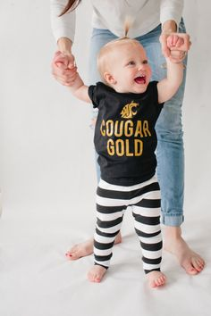 WSU COUGARS Cougar Gold Black T-Shirt by HENANDCO on Etsy