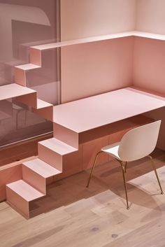 Pink holiday home by KC Design Studio features dedicated cat room Cute Diy, Pink Velvet Chair, Gold Shelves, Pink Tiles, Barbie, Interior Minimalista, Pink Curtains, Terrazzo Flooring, Bathroom Flooring