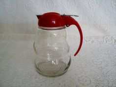 Vintage Fifties Syrup Dispenser, dripcut beehive mid century retro glassware kitchen houseware collectable home decor